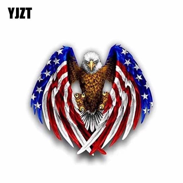 Yjzt 135cm123cm Bald Eagle American Flag Stickers Decal Car