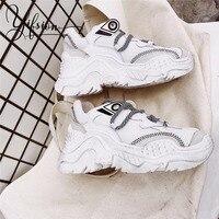 YIFSION/Новая модная повседневная женская обувь на плоской подошве, сезон весна осень, женские кроссовки с перекрестной шнуровкой и закрытым н