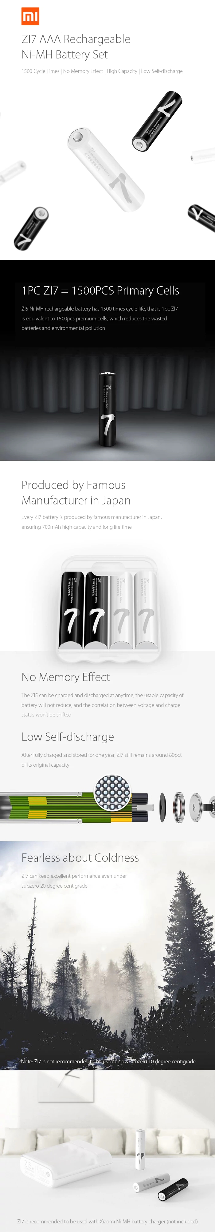 Xiaomi ZMI ZI7 AAA 700mAh 1.2V Rechargeable Battery