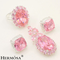 925 Sterling Silver Wedding Xmas Gifts PINK KUNZITE Jewelry Sets Pendant Earrings Ring Size 8