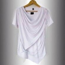 2016 New Summer Irregular T-shirt Juvenile Non Mainstream False Two-pieces Pile Collar Hip Hop T Shirt Slim Men Casual Tshirt
