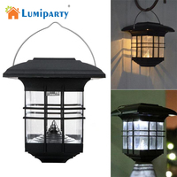 Lumiparty Waterproof Solar Garden Light LED Wall Lamp Warm White and white Auto ON for Outdoor Lighting Fence Yard Decoration