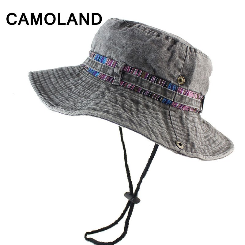 100% Cotton Summer Wide Brim Bucket Hat Denim Beach Hats Sun Women Men s  Outdoors Foldable UV Protection Fishing Caps Washed fcd6e862aeb