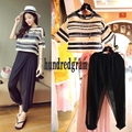 Europe and the influx of new summer leisure suit female striped organza pants two-piece small fragrant-dod47