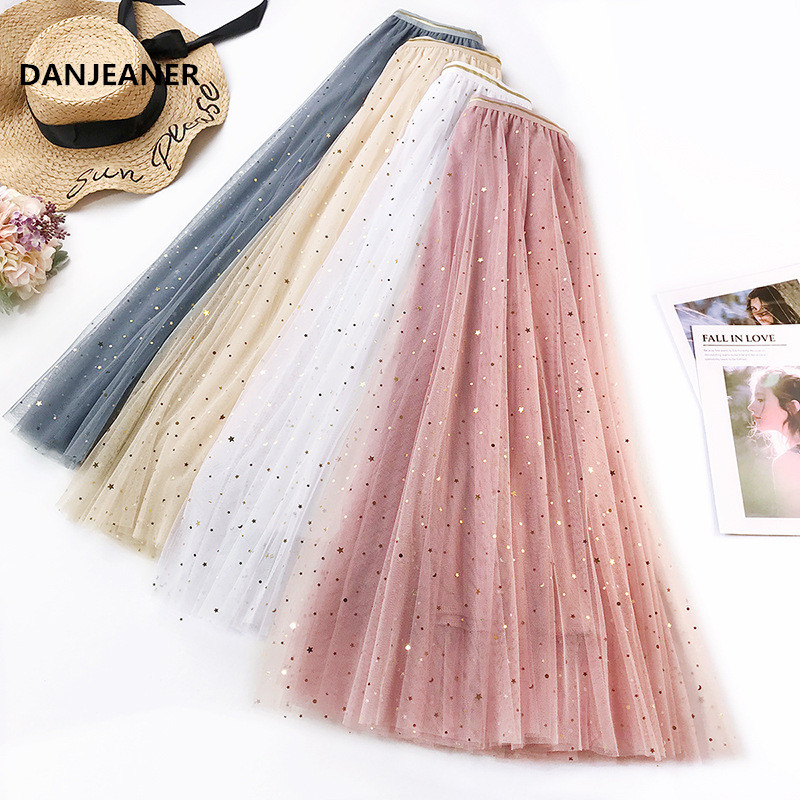 DANJEANER Summer High Waist Shining Sequin Skirts 2019 Women Elastic Waist Sexy Harajuku Tulle Skirt Streetwear Long Skirts