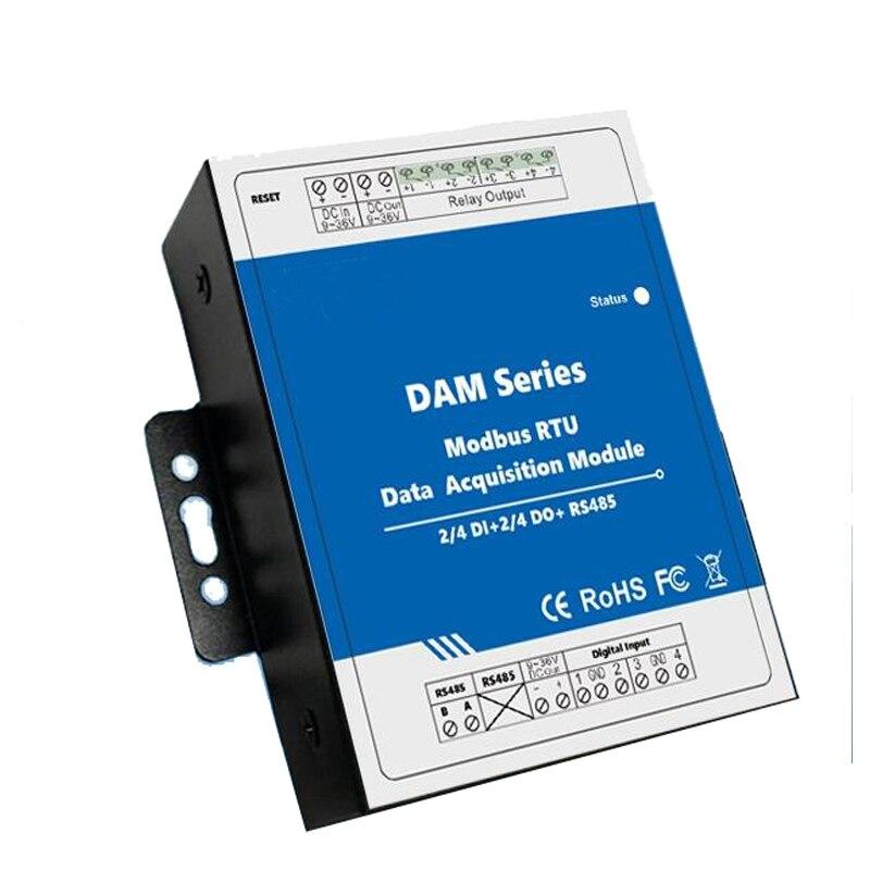 Modbus RTU Remoto IO Módulo 4 4 entradas Digitais Digital Módulos de Saída de Relé Repetidor Extensível para S27X MXX Seris DAM112