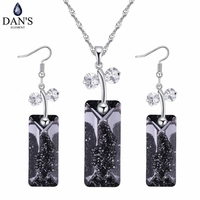 DAN'S Element 4 Colors Real Austrian Crystals White Gold Color Butterfly necklace earrings jewelry sets for women 129721