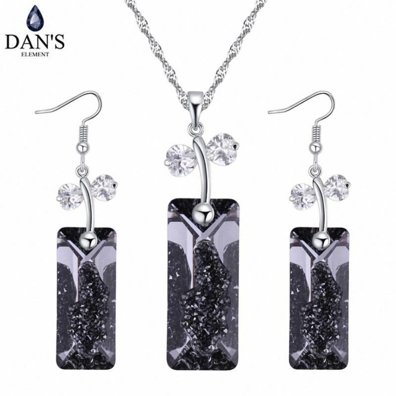 DAN'S Element 4 couleurs vrais cristaux autrichiens couleur or blanc papillon collier boucles d'oreilles ensembles de bijoux pour les femmes 129721