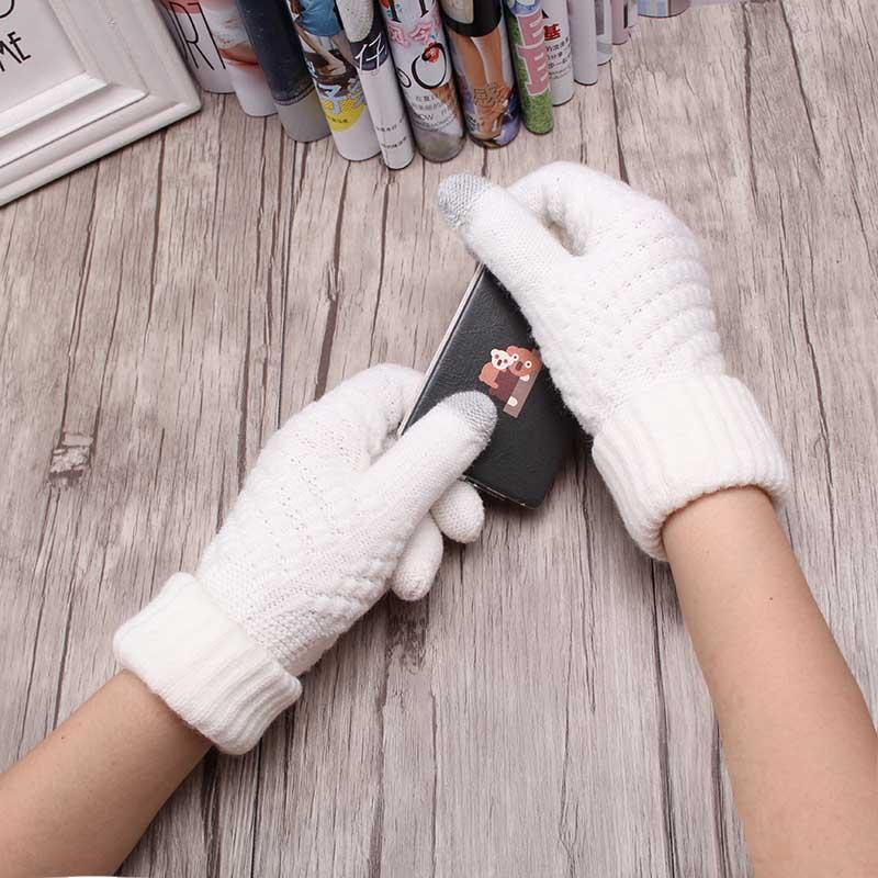 Solid Touch Screen Magic font b Gloves b font Women Girl Female Stretch Knit font b