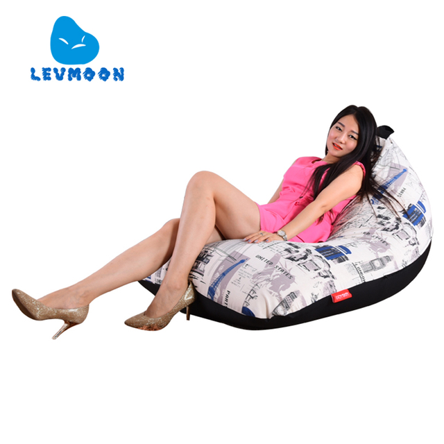 LEVMOON Beanbag Sofa Chair British fashion Seat Zac Comfort Bean Bag Bed Cover Without Filler Cotton Indoor Beanbag Lounge Chair