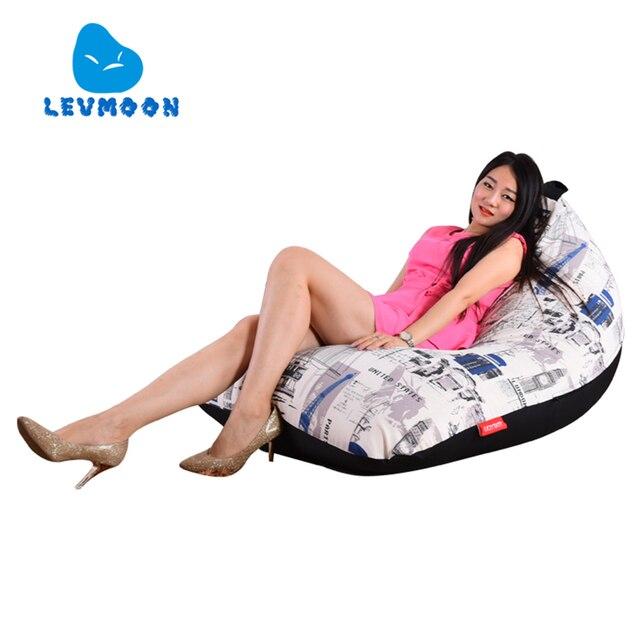 LEVMOON Beanbag Cadeira Do Sofá moda Britânica Zac Conforto Do Assento do Saco de Feijão Tampa de Cama Sem Enchimento de Algodão Lounge Chair Beanbag Interior