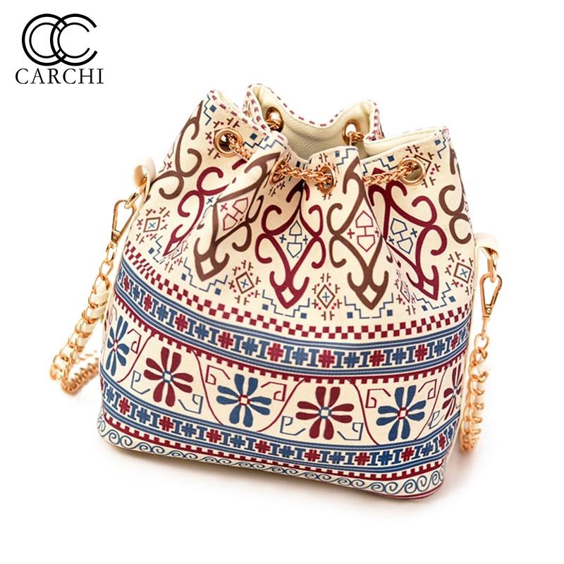Bohemia Style Canvas Drawstring Handbag Bucket Shoulder Bag Messenger Bags Chain Bag Bolsa Feminina