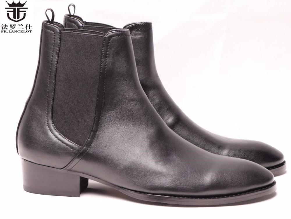 FR.LANCELOT 2019 New arrival European male leather Chelsea boots retro style men winter booties side zipper fashion ankle boots