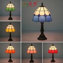 Fashion Design tureckie lampy mozaikowe E27 podstawa ręcznie robione szkło Lampsahde sypialnia nocna lampa stołowa vintage oprawy oświetleniowe