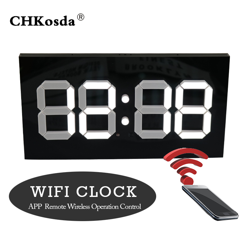 Led Digital Wall Clock Modern Design Wifi Remote Control Convex
