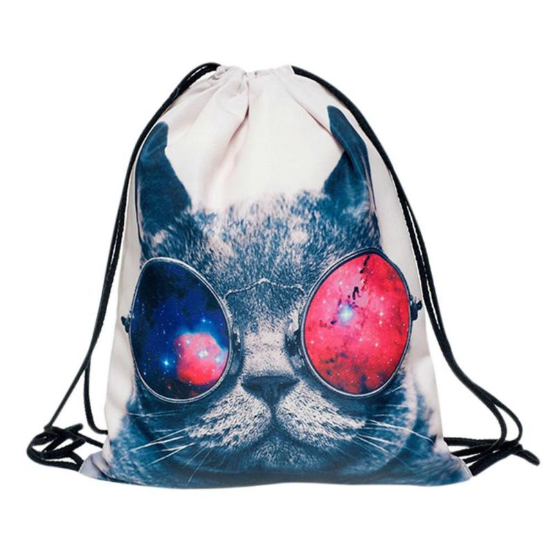 Waterproof Drawstring Storage Bag Animals Polyester 3D Digital Printing Toys Travel Shoes Laundry Lingerie Makeup Pouch