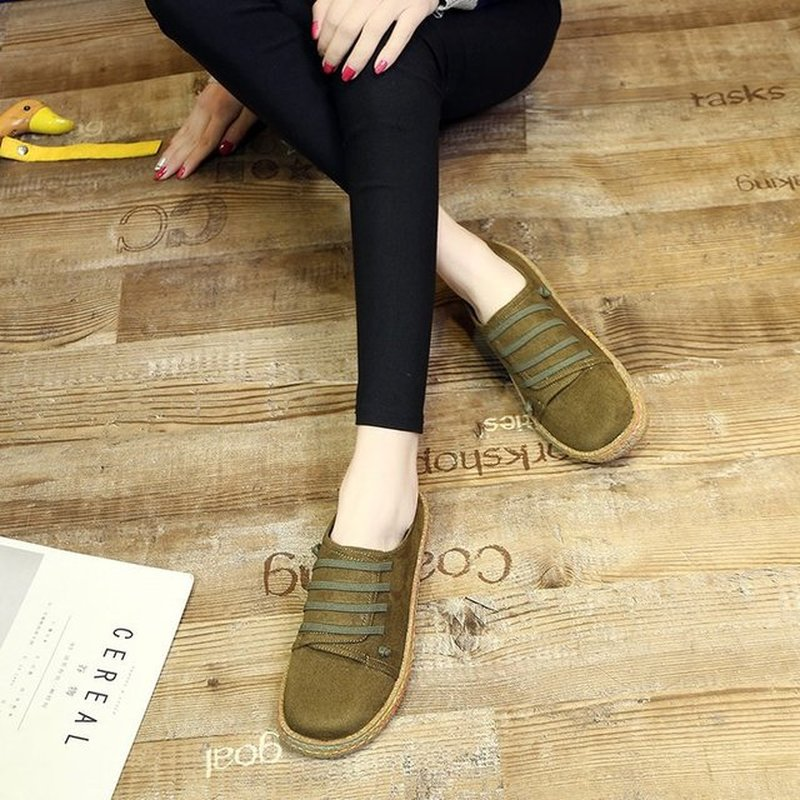 Yeeloca Korean Flat Sole Shoe Female Leisure One Word Pedal Thick-soled Bean Shoes Feet Comfortable Lazy Shoes