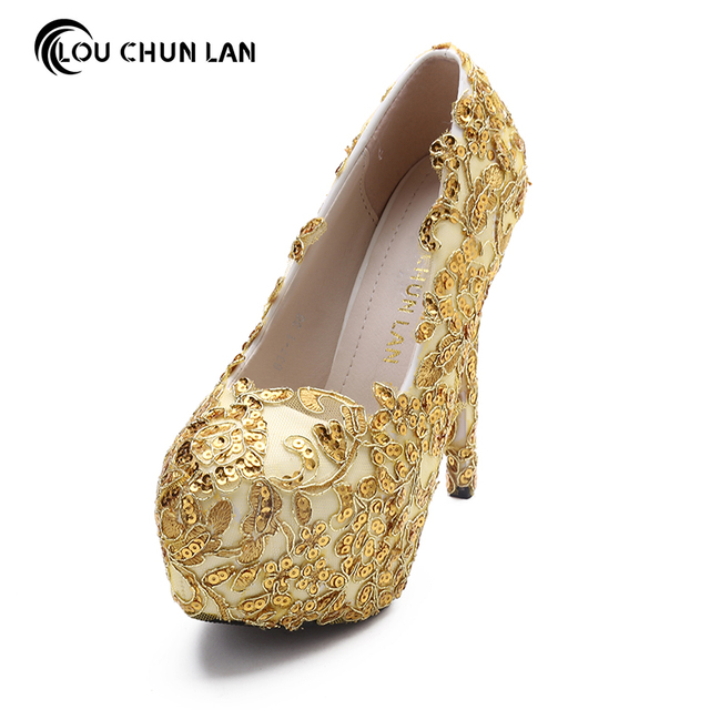 Louchunlan shoes womens shoes pumps gold wedding shoes bling high louchunlan shoes womens shoes pumps gold wedding shoes bling high heels round toe party shoes drop junglespirit Choice Image