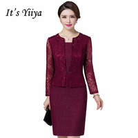 It's Yiiya Mother of the Bride Dresses with Jacket 2 piece set Fashion Designer A Line Lace Elegant Mother Dress M002