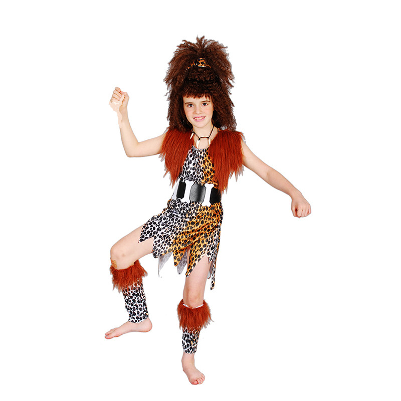 Dynamisch Halloween Cosplay Make-up Dancing Kleding Afrikaanse Savage Indiaanse Kostuums Kinderen Meisje Modellen Inheemse