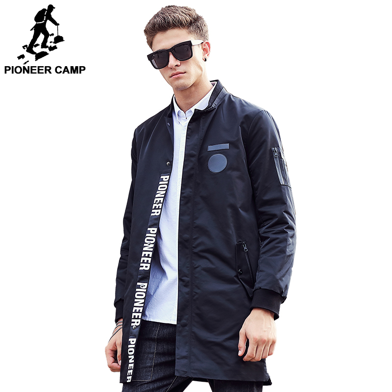 Pioneer Camp 2018 New style long Trench Coat Men brand clothing fashion Long Jackets Coats brand-clothing mens Overcoat 611311