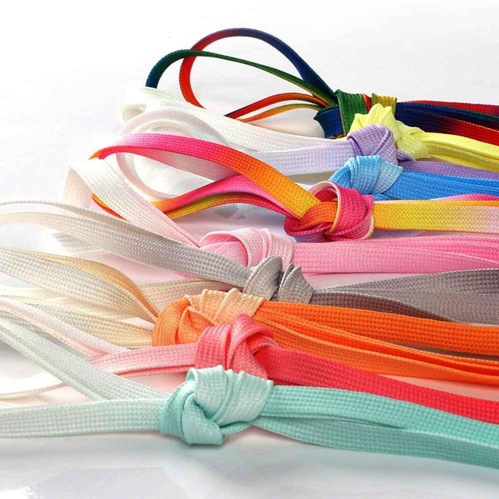 Rainbow Gradient Flat Shoe Laces Women Girls Multicolor Sneaker Shoelaces 120cm
