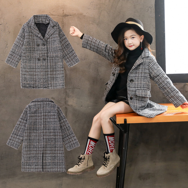Girls Wool Overcoat Fall and Winter