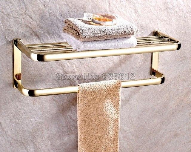 Badkamer Accessoires Goud : Luxe goud kleur messing wandmontage badkamer accessoire handdoek