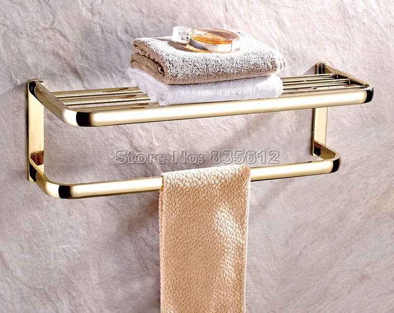 Luxury Gold Color Brass Wall Mounted Bathroom Accessory Towel Rail Holder Rack Shelf Bar Wba841 summer models princess womens handmade beaded small wedges with zipper after flip flops