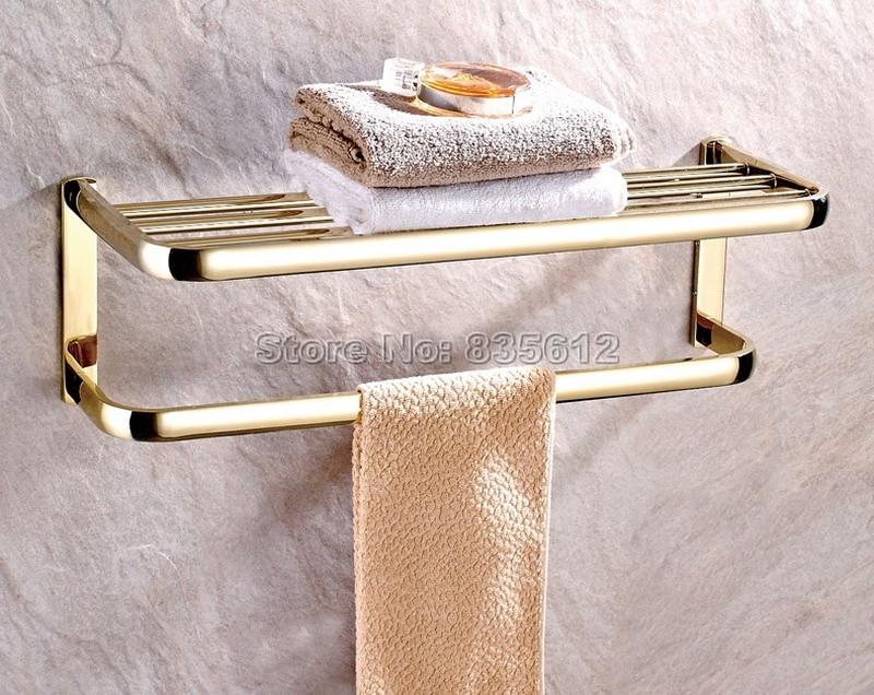 luxury gold color brass wall mounted bathroom accessory towel rail holder rack shelf bar wba841