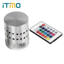 iTimo LED Wall Lamps Remote Control RGB Led Wall Light 110V/220V 3W Living Room Coffee Shop Home Decoration For Bar Luminaire(China)
