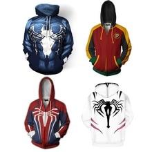 Spiderman Cosplay Costume Hoodie Venom Spider Man Avengers PS4 Sweatshirt Jacket  3D Printing Anime Hooded sweater