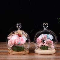 Adeeing Verre Globe Affichage Dôme Couverture avec Base En Bois Poignée en Forme De Coeur Décoration de La Maison