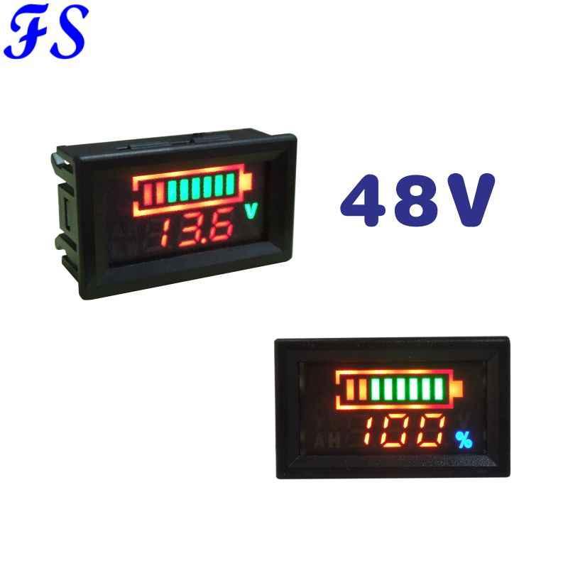 DC 48V Acid Lead Battery Indicator Lithium Battery Capacity Red LED Display Tester DC Voltmeter Analyzer for Car E-bike Voltage