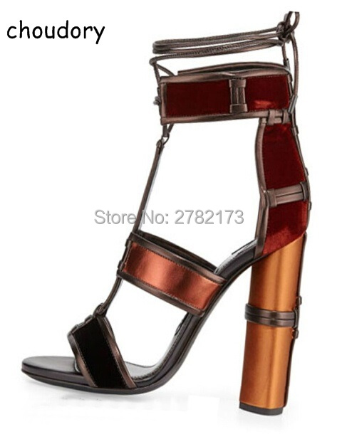 Patchwork Women Chunky Heels Gladiator Woman Sandals Shoes Ankle Wrap Open Toe Mixed Color High Heels Pumps Rome Designed Shoes british fashion sandals black white mixed color high heels shoes woman gladiator huarache open toe chaussure femme dress booties