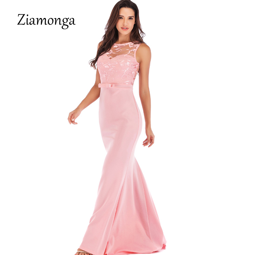 Ziamonga 2019 New Personality Evening Gowns Women Floral Lace Long Maxi Dress Elegant Sexy Long Prom Gowns Form Party Dress