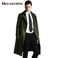 Holyrising для мужчин искусственная замша куртка мужчин Тренч зимняя slim fit классический длинное пальто Англия двубортный S 6XL #18082