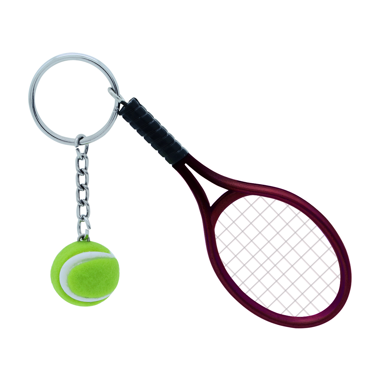 Audacious Mini Tennis Racket Keychain Key Ring Cute Sport Charm Tennis Ball Key Chain Car Bag Pendant Keyring Gift (dark Red) Demand Exceeding Supply