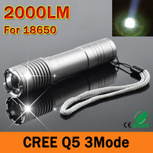 Cree Q5 Led Flashlight 2000 lumens LED Torch 5 Mode Mini LED Flashlight Zoomable Waterproof Hiking Camping lanterna for 18650