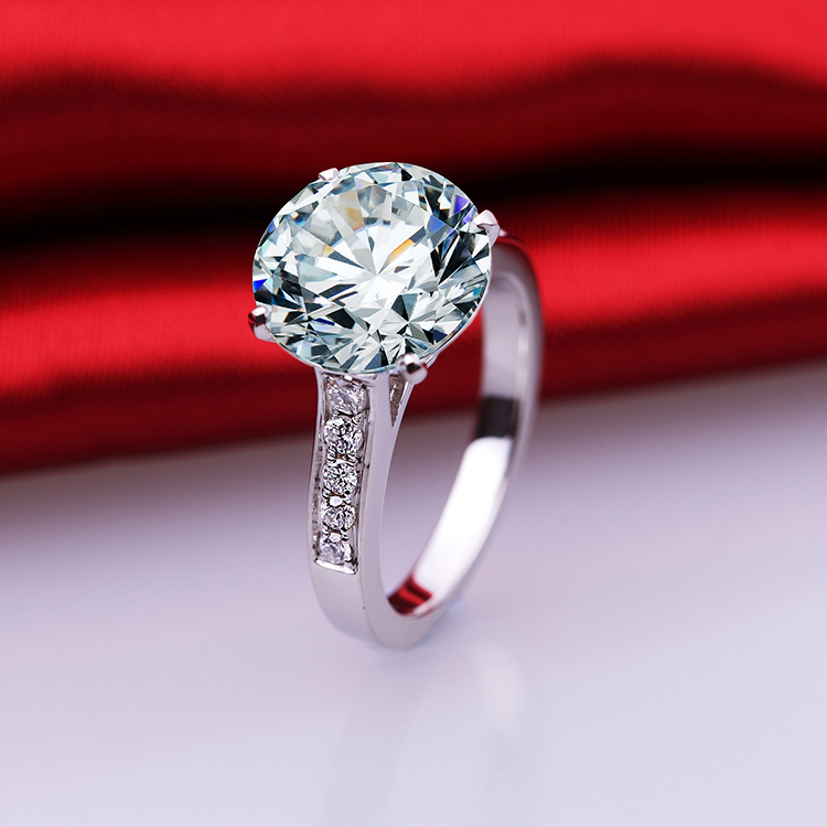 5 carat fashion ring 925 sterling silver SONA diamond ring pigeon eggs female jewelry PT950 imprint US size from 4 to 10.5