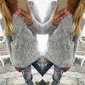 2016 Las Mujeres de Punto Suéteres de Otoño de Manga Larga O Cuello Sólido Punto Casual Femenino Faux Mohair Jerseys Tops Tallas grandes