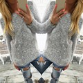 2016 Women Knitted Sweaters Autumn Long Sleeve O Neck Solid Knitwear Female Casual Faux Mohair Pullovers Tops Plus Size