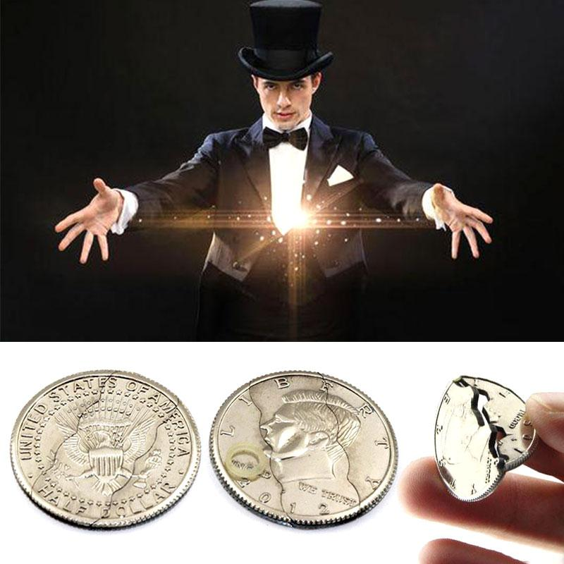 Magic Coin Magic Tricks Toy Three Folding Coin Toys Emotion Puzzle Funny Gadgets Prank Toys Cosplay Tool Magic Props Silver