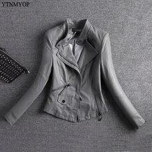 YTNMYOP Весенняя кожаная куртка женская серая мотоциклетная кожаная куртка Верхняя одежда Новая тонкая женская кожаная одежда короткая замша