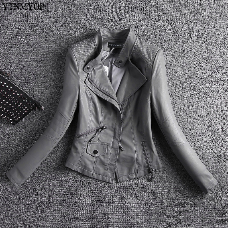 YTNMYOP Spring   Leather   Jacket Women Grey Motorcycle   Leather   Coat Outerwear 2019 New Slim Female   Leather   Clothing Short   Suede