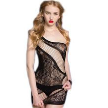HL3131 Black neckline string open crotch sex fishnet lingerie floral lace lenceria sexy mujer sexy asymmertric body lingerie sex