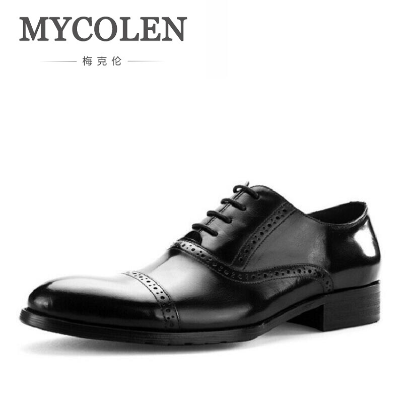 цена на MYCOLEN Men Leather Shoe Custom Handmade Genuine Calf Leather Men Dress Shoe Luxury Brand Business Party Oxfords Shoes For Man