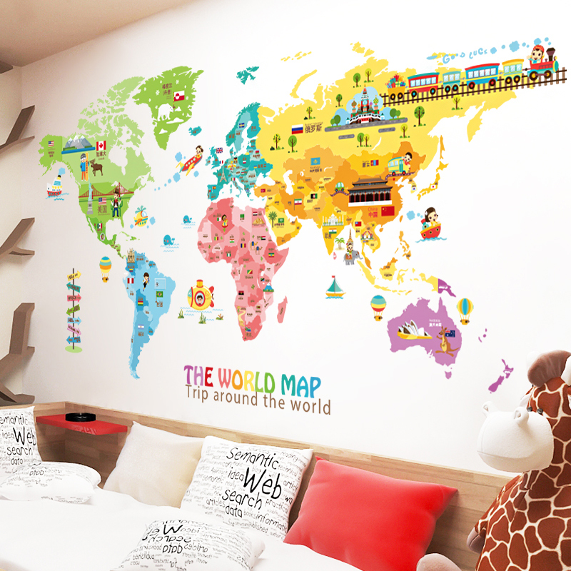 Large Children's Room Sticker Cartoon World Map Sticker Bedroom Living Room Kindergarten Wall Decoration Wall Sticker-in Wall Stickers from Home & Garden