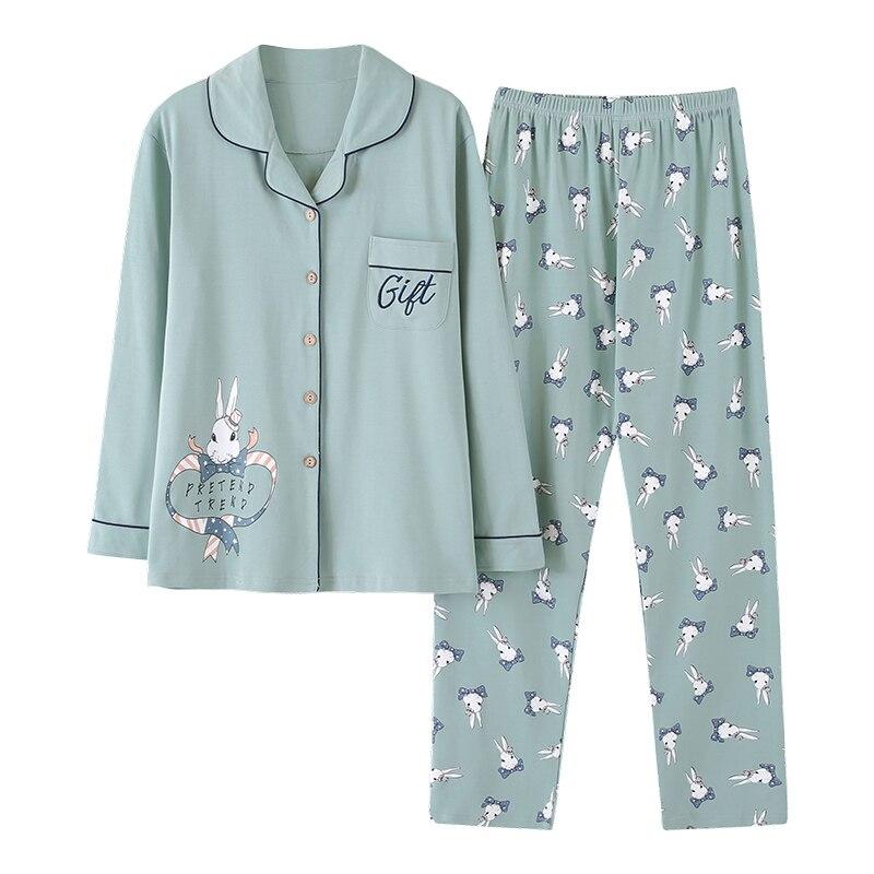 Autumn spring casual cotton long sleeve women pajama sets Cute cartoon keep warm sleepwear women pyjama femme AD127