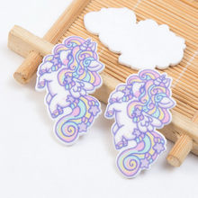 5Pieces Cartoon Resin Unicorn Horse Flatback Scrapbooking Kawaii Wing Cabochon DIY Craft For Home Decoration 3.6x2.5cm(China)